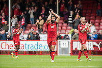 Joe McNerney of Crawley Town (22) celebrates victory  during the Sky Bet League 2 match between Crawley Town and Luton Town at the Broadfield/Checkatrade.com Stadium, Crawley, England on 17 September 2016. Photo by Edward Thomas / PRiME Media Images.