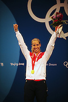 Aug. 9, 2008; Beijing, CHINA; Mariel Zagunis celebrates after winning the gold medal in the womens fencing individual sabre final at the Fencing Hall in the 2008 Beijing Olympic Games. Mandatory Credit: Mark J. Rebilas-