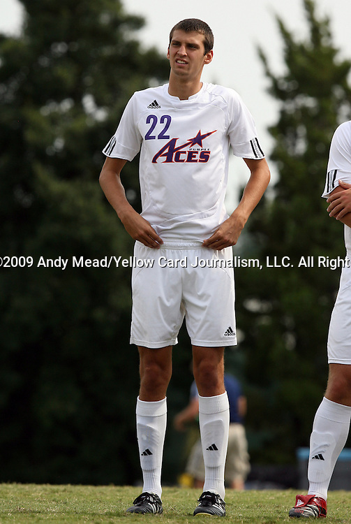 06 September 2009: Evansville's Jarrett Robbins. The University of North Carolina Tar Heels defeated the Evansville University Purple Aces 4-0 at Fetzer Field in Chapel Hill, North Carolina in an NCAA Division I Men's college soccer game.