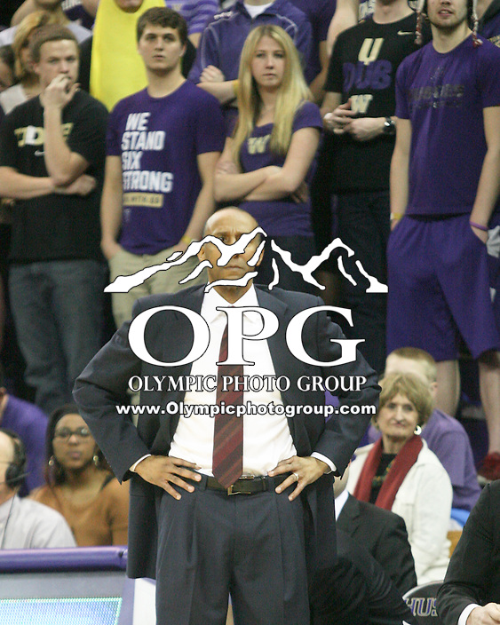 February 12, 2014:   Stanford's head coach Johnny Dawkins against Washington.  Washington defeated Stanford 64-60 at Alaska Airlines Arena in Seattle, Washington.