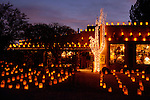 Luminarias and holiday lights in Tubac, Arizona