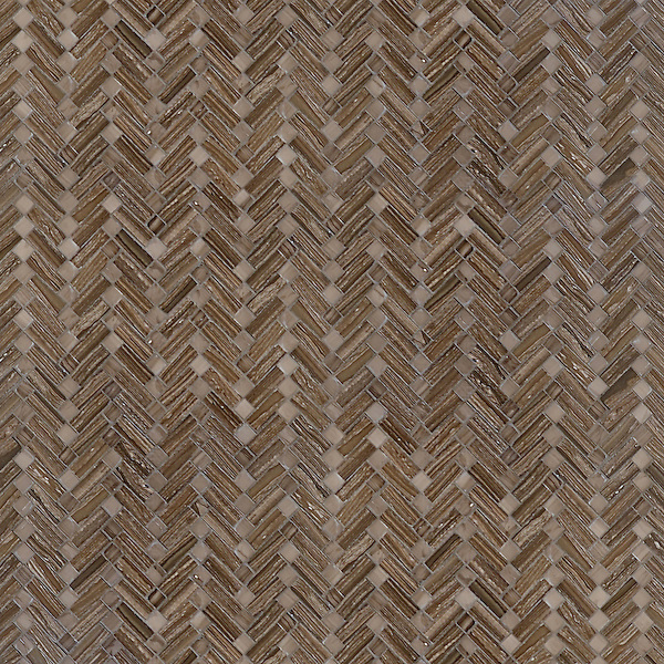 Antiquerita, a hand-cut mosaic, shown in polished Bayard and Driftwood, is part of the Miraflores Collection by Paul Schatz for New Ravenna.