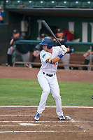 Ogden Raptors first baseman Dillon Paulson (14) at bat during a Pioneer League game against the Great Falls Voyagers at Lindquist Field on August 23, 2018 in Ogden, Utah. The Ogden Raptors defeated the Great Falls Voyagers by a score of 8-7. (Zachary Lucy/Four Seam Images)