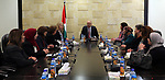 Palestinian Prime Minister, Rami Hamdallah, meets with Members of Women's Affairs, in the West Bank city of Ramallah on March 11, 2018. Photo by Prime Minister Office