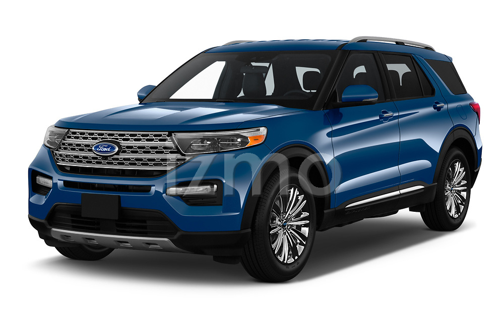 2020 Ford Explorer Limited 5 Door SUV Angular Front automotive stock photos of front three quarter view
