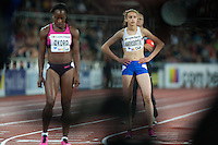 Marilyn OKORO (GBR) and Anita Hinriksdottir (ICE) getting ready for the 800m run at the IAAF Diamond League meeting in Stockholm.