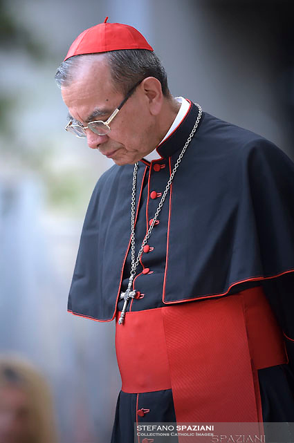 Cardinal Gregorio Rosa Chavez.Pope Francis visits the Roman parish of Santissimo Sacramento in the Rome  suburb Torre dei Schiavi, for a pastoral visit on May 6, 2018