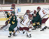 H.T. Lenz (UVM - 11), Michael Matheson (BC - 5), Brooks Dyroff (BC - 14), Patrick Brown (BC - 23), Quinn Smith (BC - 27) - The Boston College Eagles defeated the University of Vermont Catamounts 4-1 on Friday, February 1, 2013, at Kelley Rink in Conte Forum in Chestnut Hill, Massachusetts.
