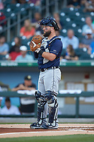 Toledo Mud Hens catcher Cameron Rupp (26) on defense against the Charlotte Knights at BB&T BallPark on April 24, 2019 in Charlotte, North Carolina. The Knights defeated the Mud Hens 9-6. (Brian Westerholt/Four Seam Images)