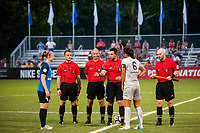 Kansas City, MO - Saturday July 22, 2017: Becky Sauerbrunn, Abby Erceg, Kevin Broadley, TJ Zablocki, Gjovalin Bori, Tom Kuczwara during a regular season National Women's Soccer League (NWSL) match between FC Kansas City and the North Carolina Courage at Children's Mercy Victory Field.
