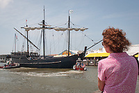 As dozens watched, the floating museums, the Nina and Pinta, veered from the Gulf of Mexico, to sail through Gordon's Pass, down the river and dock at Tin City in Naples, Thursday, March 31. While in port, families can experience history firsthand, by stepping aboard and exploring the ships with self-guided tours every day from 9 am to 6 pm, April 1 through April 10. General admission is $8 for adults, $7 for seniors (age 60 plus), $6 ages 5-16, and kids under 4 are free. The floating museus, considered to be historically accurate, are visiting ports to showcase the 'caravel', the type of Portuguese ship used by Columbus. They are bound for Stuart, Florida, with future stops in Washington DC and Norwich, Connecticut. Photo by Debi Pittman Wilkey/news-press.com.