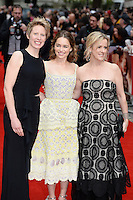Thea Sharrock, Emilia Clarke and Jojo Moyes<br /> arrive for the UK premiere of<br /> 'Me Before You'<br /> Curzon Mayfair, London