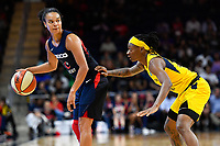 Washington, DC - Aug 8, 2019: Washington Mystics guard Kristi Toliver (20) guarded by Indiana Fever guard Erica Wheeler (17) during 2nd half action of game between the Indiana Fever and the Washington Mystics. The Mystics defeat the Fever 91-78 at the Entertainment & Sports Arena in Washington, DC. (Photo by Phil Peters/Media Images International)