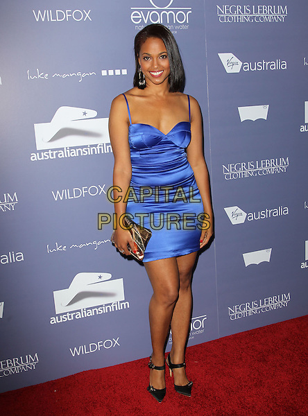 Michelle Van Der Water.Australians in Film 8th Annual Breakthrough Awards held at The Hotel Intercontinental in Century City, California, USA..June 27th, 2012.full length dress blue silk satin gold clutch bag .CAP/ADM/KB.©Kevan Brooks/AdMedia/Capital Pictures.