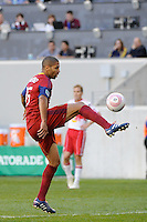 Alvaro Saborio (15) of Real Salt Lake. The New York Red Bulls and Real Salt Lake played to a 0-0 tie during a Major League Soccer (MLS) match at Red Bull Arena in Harrison, NJ, on October 09, 2010.