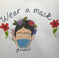 """""""Wear a Mask"""" Drawing by Ruby Anderson, Grade 4, Yarmouth, ME, USA"""