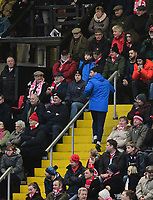 Lincoln City manager Danny Cowley makes his way to the stand after being sent off by Referee Ross Joyce<br /> <br /> Photographer Chris Vaughan/CameraSport<br /> <br /> The EFL Sky Bet League Two - Lincoln City v Notts County - Saturday 13th January 2018 - Sincil Bank - Lincoln<br /> <br /> World Copyright &copy; 2018 CameraSport. All rights reserved. 43 Linden Ave. Countesthorpe. Leicester. England. LE8 5PG - Tel: +44 (0) 116 277 4147 - admin@camerasport.com - www.camerasport.com