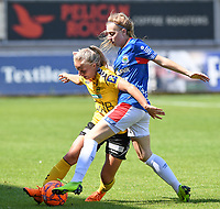 20190807 - DENDERLEEUW, BELGIUM : LSK's Emilie Woldvik (left) pictured in a fight for the ball with Linfield's Rebecca Bassett (right) during the female soccer game between the Norwegian LSK Kvinner Fotballklubb Ladies and the Northern Irish Linfield ladies FC , the first game for both teams in the Uefa Womens Champions League Qualifying round in group 8 , Wednesday 7 th August 2019 at the Van Roy Stadium in Denderleeuw  , Belgium  .  PHOTO SPORTPIX.BE for NTB  | DAVID CATRY