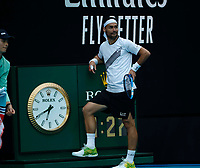 26th January 2020; Melbourne Park, Melbourne, Victoria, Australia; Australian Open Tennis, Day 7; Fabio Fognini of Italy takes a break during his match against Tennys Sandgren of USA