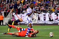 September 9, 2017 - Foxborough, Mass: Montreal Impact forward Anthony Jackson-Hamel (24) runs over New England Revolution goalkeeper Cody Cropper (1) during the MLS game between the Montreal Impact and the New England Revolution held at Gillette Stadium in Foxborough Massachusetts. Revolution defeat Impact 1-0. Eric Canha/CSM