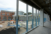 A view of the west facing side Thursday, July 30, 2020,  of the the new expansion in the Fayetteville Public Library still under construction. The new addition of 82,500-square-feet will nearly double the size of the 88,000-square-foot main library. Check out nwaonline.com/200802Daily/ and nwadg.com/photos for a photo gallery.<br /> (NWA Democrat-Gazette/David Gottschalk)
