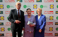 19/05/2015 <br /> (L to r) Seamus stack<br /> Frances stack <br /> Sister Brodie o Sullivan <br /> during the Irish mirror pride of Ireland awards at the mansion house, Dublin.<br /> Photo: gareth chaney Collins
