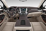 Stock photo of straight dashboard view of a 2015 Chevrolet Suburban 4WD 1500 LTZ 5 Door Suv Dashboard