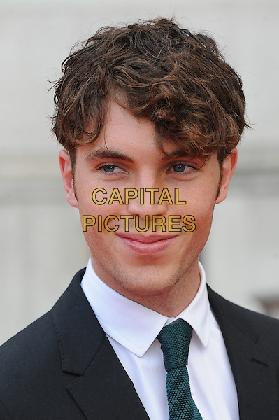 Tom Hughes <br /> attends the World Premiere of &quot;About Time&quot;, Somerset House, London, UK, 8th August 2013.<br /> portrait headshot white shirt green tie grey gray suit <br /> CAP/BEL<br /> &copy;Tom Belcher/Capital Pictures