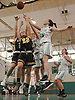 Jamie McSorley #45 of Seaford, right, and Julianna Kissane #22 of Wantagh go up for a rebound during a non-league varsity girls basketball game at Seaford High School on Friday, Dec. 29, 2017. Seaford won in wire-to-wire fashion by a score of 65-56.