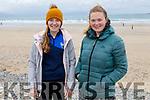 Rebecca Murphy and Rebecca Harris from Tralee enjoying a stroll on Banna Beach on Sunday.