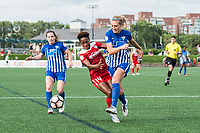 Boston, MA - Saturday July 01, 2017: Francisca Ordega and Megan Oyster during a regular season National Women's Soccer League (NWSL) match between the Boston Breakers and the Washington Spirit at Jordan Field.
