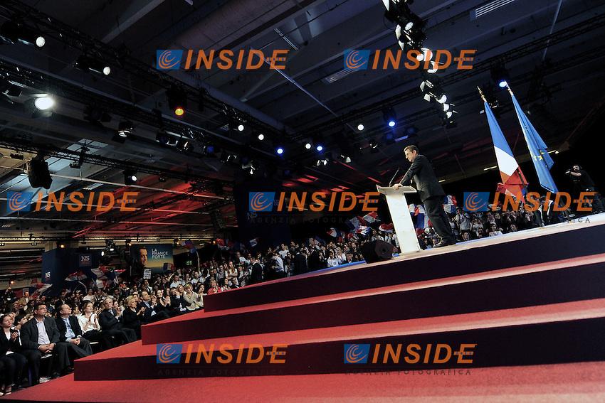 Il Presidente in carica  Nicolas Sarkozy .31/03/2012 Parigi,  Porte de Versailles , Meeting del Partito UMP Unione per un Movimento Popolare, in vista delle prossime elezioni presidenziali del 2012..Foto Insidefoto /Christian Liewig / Panoramic.ITALY ONLY