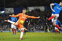 Chris Long of Blackpool left scores the first goal  during Portsmouth vs Blackpool, Sky Bet EFL League 1 Football at Fratton Park on 12th January 2019