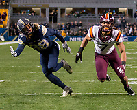 Pitt defensive back Ryan Lewis (38) defends a pass. The Virginia Tech Hokies defeated the Pitt Panthers 39-36 on October 27, 2016 at Heinz Field in Pittsburgh, Pennsylvania.