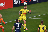 15th March 2020, Wellington, New Zealand;  Phoenix's Gary Hooper scores a headed goal during the A-League - Wellington Phoenix versus Melbourne Victory football match at Sky Stadium in Wellington on Sunday the 15th March 2020.