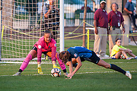 Kansas City, MO - Sunday September 3, 2017: Kailen Sheridan, Shea Groom during a regular season National Women's Soccer League (NWSL) match between FC Kansas City and Sky Blue FC at Children's Mercy Victory Field.