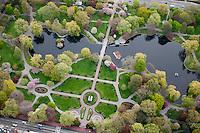 Public Garden aerial view, boston, MA springtime