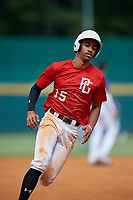 Andrew Estrella (15) of John A. Ferguson High School in Cutler Bay, FL during the Perfect Game National Showcase at Hoover Metropolitan Stadium on June 20, 2020 in Hoover, Alabama. (Mike Janes/Four Seam Images)