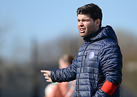 20190324 - OOSTAKKER , BELGIUM : Gent's assistant coach Dennis Moerman pictured during the quarter final of Belgian cup 2019 , a womensoccer game between KAA Gent Ladies and RSC Anderlecht , at the PGB stadion in Oostakker , sunday 24 th March 2019 . PHOTO SPORTPIX.BE | DAVID CATRY