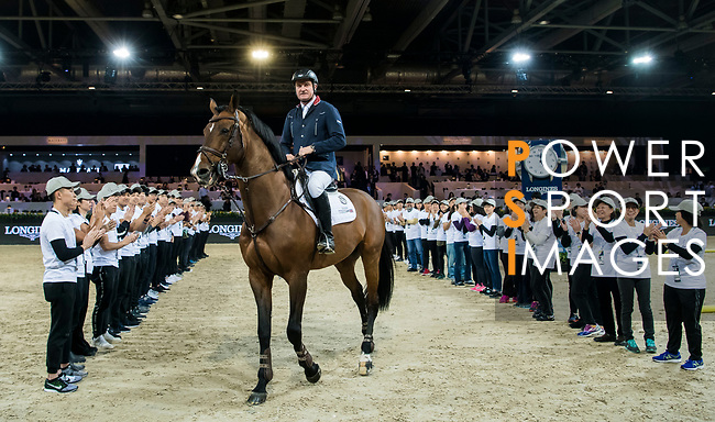 Robert Smith of Great Britain riding Ilton after Longines Grand Prix during the Longines Masters of Hong Kong at AsiaWorld-Expo on 11 February 2018, in Hong Kong, Hong Kong. Photo by Diego Gonzalez / Power Sport Images