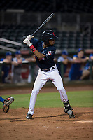 AZL Indians 2 second baseman Gionti Turner (1) at bat during an Arizona League game against the AZL Dodgers at Goodyear Ballpark on July 12, 2018 in Goodyear, Arizona. The AZL Indians 2 defeated the AZL Dodgers 2-1. (Zachary Lucy/Four Seam Images)
