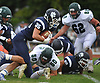 Justin Gerdvil #35 of Northport fights for yards during a Suffolk County Division I varsity football game against Lindenhurst at Glenn High School on Saturday, Sept. 2, 2017.