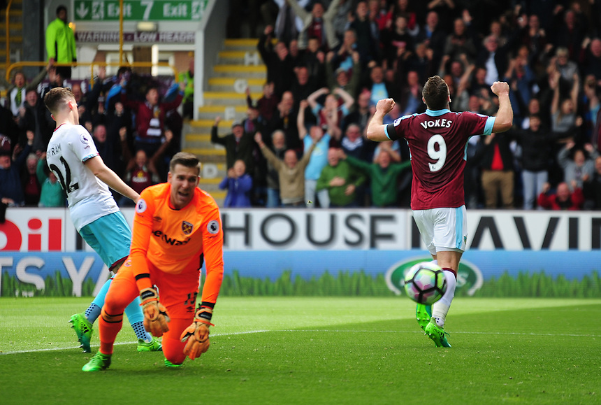 Burnley's Sam Vokes celebrates scoring the opening goal <br /> <br /> Photographer Andrew Vaughan/CameraSport<br /> <br /> The Premier League - Burnley v West Ham United - Sunday 21st May 2017 - Turf Moor - Burnley<br /> <br /> World Copyright &copy; 2017 CameraSport. All rights reserved. 43 Linden Ave. Countesthorpe. Leicester. England. LE8 5PG - Tel: +44 (0) 116 277 4147 - admin@camerasport.com - www.camerasport.com