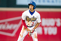 Rancho Cucamonga Quakes Jeren Kendall (3) takes his lead off of second base against the Lake Elsinore Storm at LoanMart Field on April 20, 2018 in Rancho Cucamonga, California. The Quakes defeated the Storm 7-5.  (Donn Parris/Four Seam Images)