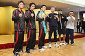 (L to R) Toshiyuki Igarashi (JPN), Shinsuke Yamanaka (JPN),  Takahiro Aoh (JPN),  Devis Boschiero (ITA),  Christian Esquivel (MEX),  Wilbert Uicab (MEX), NOVEMBER 4, 2011 - Boxing : Takahiro Aoh of Japan and Devis Boschiero of Italy pose during a signing ceremony for WBC Super Feather weight title bout in Tokyo, Japan. (Photo by Yusuke Nakanishi/AFLO SPORT) [1090]