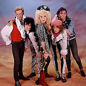 Hanoi Rocks - L-R: Terry Chimes, Nasty Suicide, Michael Monroe, Andy McCoy, Renee Berg - photographed exclusively in London UK - 15 April 1985.  Photo credit: George Chin/IconicPix