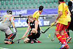 The Hague, Netherlands, June 15: Blair Tarrant #22 of New Zealand knees on the pitch after missing a chance to score during the field hockey placement match (Men - Place 7th/8th) between Spain and the Black Sticks of New Zealand on June 15, 2014 during the World Cup 2014 at Kyocera Stadium in The Hague, Netherlands.  Final score after full time 1-1 (0-1). The Black Sticks of New Zealand win the shoot-out 1-4.  (Photo by Dirk Markgraf / www.265-images.com) *** Local caption ***