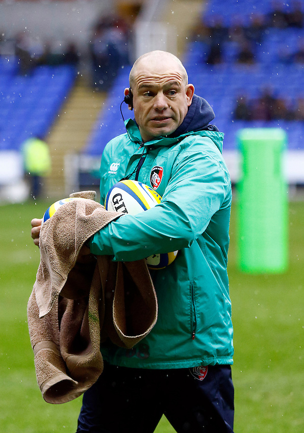 Leicester Tigers' Director of Rugby Richard Cockerill during the pre match warm up<br /> <br /> Photographer Simon King/CameraSport<br /> <br /> Rugby Union - Aviva Premiership - London Irish v Leicester Tigers - Sunday 22nd February 2015 - Madejski Stadium - Reading<br /> <br /> &copy; CameraSport - 43 Linden Ave. Countesthorpe. Leicester. England. LE8 5PG - Tel: +44 (0) 116 277 4147 - admin@camerasport.com - www.camerasport.com