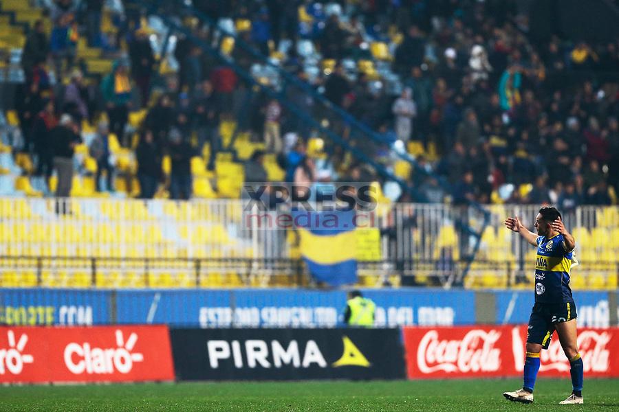 Viña del Mar 10 de Agosto 2018 / Los jugadores de Everton celebran el triunfo frente a Universidad de Concepcion, durante el partido entre los equipos de Everton vs Universidad de Concepcion por la decimonovena fecha del Campeonato Nacional 2018, jugado en el Estadio Sausalito FOTO: Osvaldo Villarroel - Xpress Media