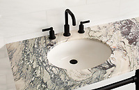 Vanity top shown in polished Plumeria.